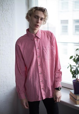 VINTAGE 90'S RED/WHITE TARTAN COTTON SHIRT