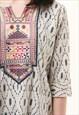 90S VINTAGE INDIAN FLORAL MIDI STRAIGHT COTTON DRESS 494