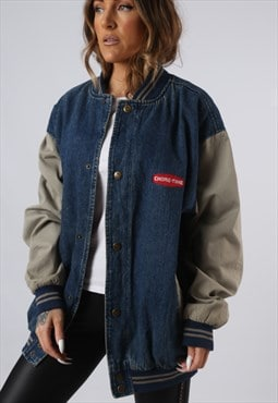 Vintage Denim Bomber Jacket Lined Varsity UK 16 18 (JAEU)