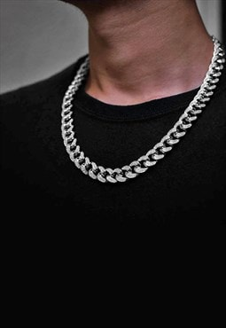 "10mm 20"" Diamond Iced Out Cuban Curb Necklace Chain - Silver"
