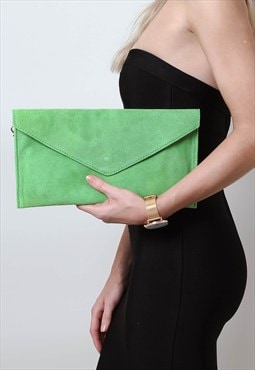 Lime Green Suede Envelope Clutch Bag