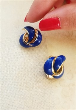 Vintage 80's enamel clip on earrings in gold and blue