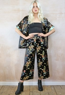 Crop Trousers & Kimono  Co-ordinates in Black Chinese Dragon