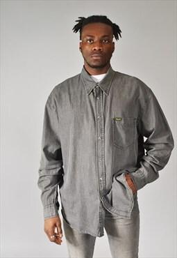 Vintage Wrangler Denim Western Shirt Charcoal Grey
