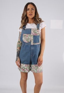 Vintage Denim Dungaree Shorts FLORAL UK 10 - 12  (HDAD)