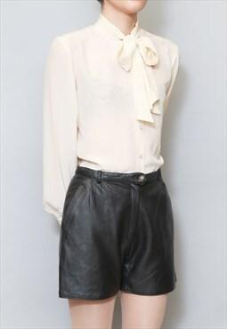 Vintage 1980's Black Pocketed Soft Leather Shorts