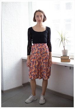 Vintage 70s Midi Flower Print Multicolour High Waisted Skirt