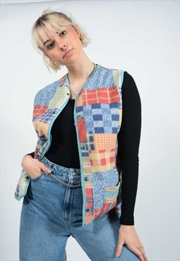 Vintage 80's Abstract Fleece Gilet.