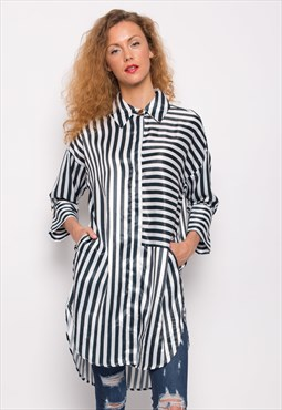 Classic Stripe Shirt Dress Print Button down Oversize
