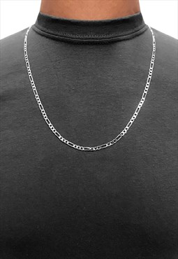 "4mm 18"" 925 Sterling Silver Figaro Necklace Chain"