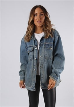 Vintage Denim Jacket Oversized Fitted UK 16 XL (Q4A)