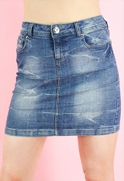 Vintage 90s Denim Skirt Y2K Mini Blue Washed
