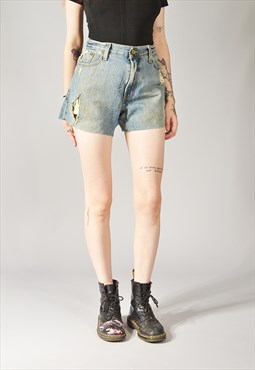 Vintage Levi's 527 Distressed Denim Shorts Mid Blue