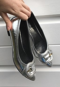 Womens Fendi shoes flat slip on shiny silver ballet pumps