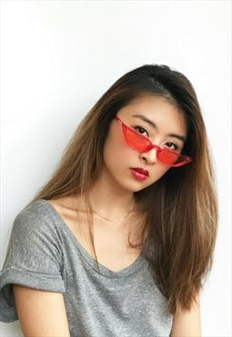 Tiny Retro Rectangle Cat Eye Sunglasses in red