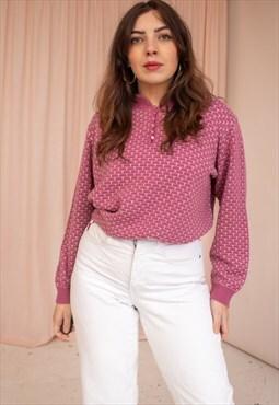 Vintage 80s Collared Jumper in Pink