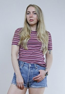 Vintage 90's Pink & Purple Striped Grunge T-Shirt