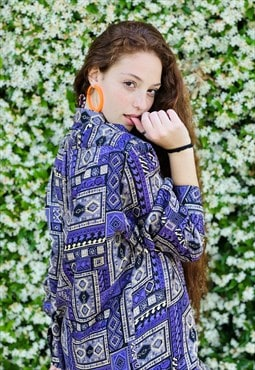 Vintage 80's Purple Detailed Ethnic Printed Shirt Festival