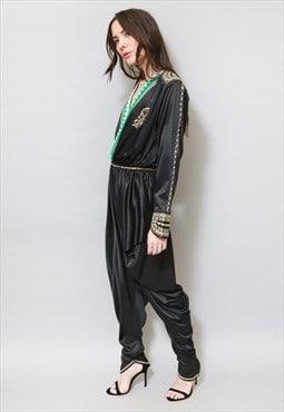 Vintage 1970's Black Sequin Embroidered Harem Jumpsuit