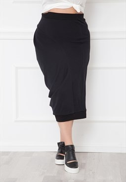 Black Skirt With Gather Detail