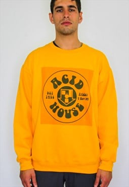 Acid House oversized rave flyer sweater in gold