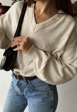 Vintage 80s oversized GOLF knitted cream Parisian jumper