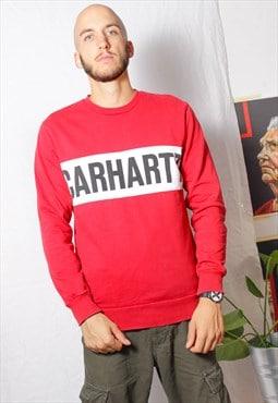 90s grunge y2k sports Carhartt logo workwear red jumper