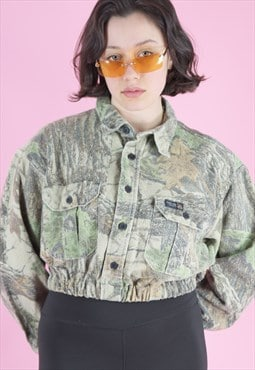 Vintage Reworked Crop Jacket in Faded Green Camo Pattern