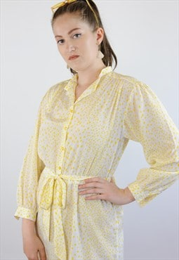 Womens Vintage 80s dress white yellow spotty long sleeved