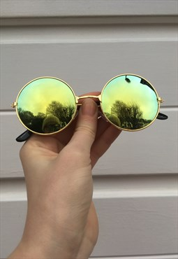 Unisex 80s style circle Holographic reflective sunglasses