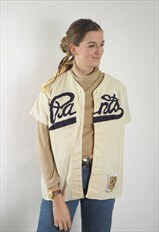 Vintage Cream Wool Baseball Top