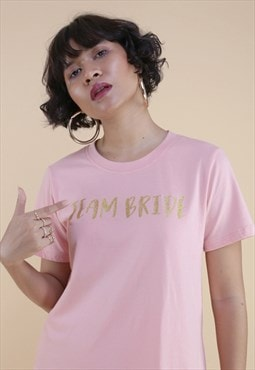 Half sleeves graphic bridesmaid t-shirt in pink