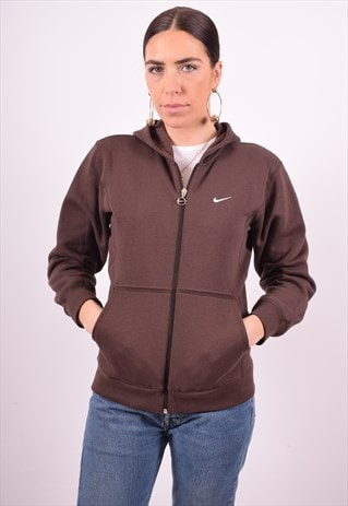 NIKE WOMENS VINTAGE HOODIE JACKET MEDIUM BROWN 90'S
