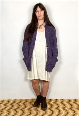 Vintage 90's Purple Marl Long Sleeve Cosy Cardigan