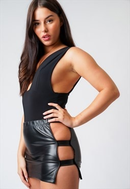 Black Faux Leather Cut Out Mini Skirt