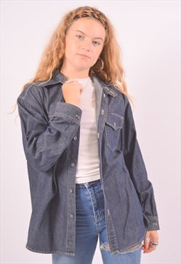 Vintage Calvin Klein Denim Shirt Navy Blue