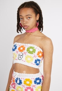 Crochet Granny Square Floral Crop Top