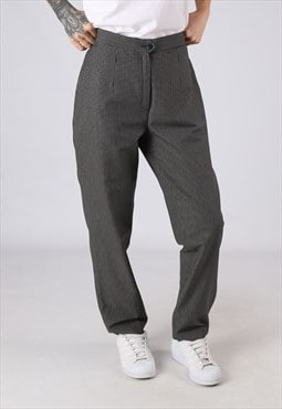 High Waisted Trousers Checked Wide Tapered UK 14  16 (GJ4P)