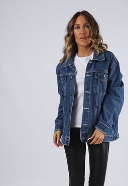 Denim Jacket Oversized Fitted Vintage UK 16 (K95C)