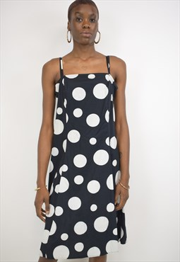 Vintage 90s Black and White Spotted Dress