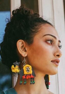 Handmade wooden camel earring, Camel dangle, Animal inspired
