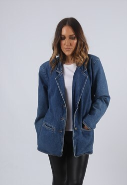 Vintage Denim Blazer Jacket Oversized Longline UK 12 M (KJA)