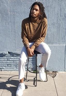 90s Minimalist Luxury Silk Brown Mock Neck Sweater