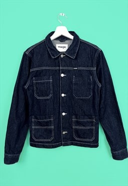 Vintage 90's WRANGLER Dark Indigo Blue Denim Jacket