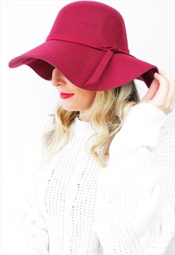 Burgundy Boho Peasant Floppy Bow Wide Rim Fedora Bowler Hat