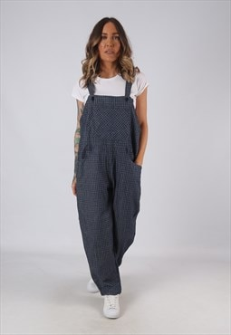 Denim Dungarees Checked Wide Tapered Leg UK 14 (HK4J)