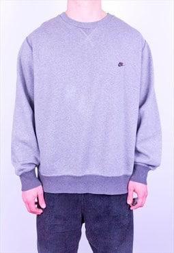 Vintage 90s Nike Spell Out Logo Sweatshirt Grey Large