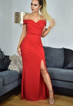 Cher Bardot Side Slit Strappy Evening Maxi Dress in Red