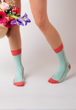 Coral stripe ankle socks