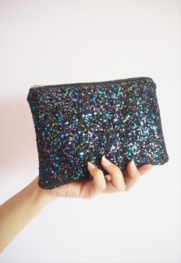 Black Rainbow Glitter Makeup Bag